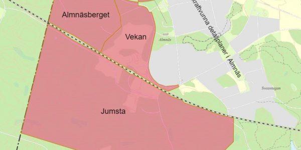 Karta över detaljplanerat område i Almnäs