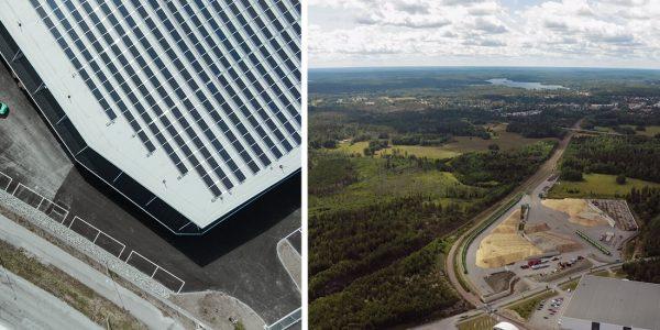 Tak med solpaneler och flygbild över Almnäs ovanifrån